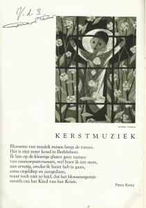 Kerstgedicht van Pierre Kemp, geschreven voor het personeelsblad van zijn vroegere (1916-1945) werkgever, de Maatschappij tot Exploitatie der Steenkolenmijnen Laura en Vereeniging te Eygelshoven. De Mijn, 4 (1959) 8 (december), binnenzijde omslag. Collectie Wiel Kusters.