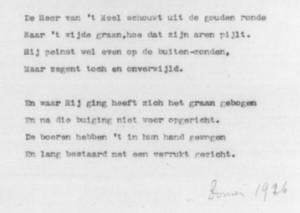 De slotstrofen van Pierre Kemps typoscript 'De legende van het goede brood' (RHCL, Limburg).