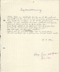 Gedicht 'Najaarsstemming' van Pierre Kemp. Handschrift op ruitjespapier. Het op 17 augustus 1940 definitief geworden gedicht vertrok op 22 september daaropvolgend naar het tijdschrift De Gemeenschap, waar het in december 1940 werd gepubliceerd.